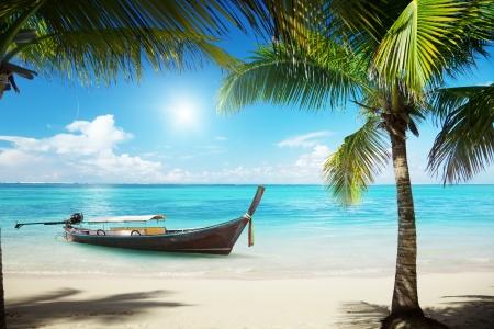 Photo pour sea, coconut palms and boat - image libre de droit