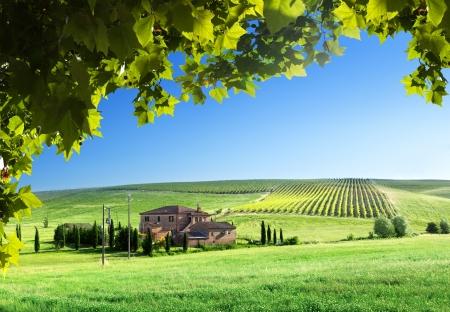 Photo pour Tuscany landscape with typical farm house - image libre de droit