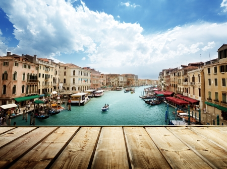 Photo for Venice, Italy and wooden surface - Royalty Free Image