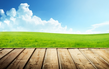 Photo for Green field and wood floor  - Royalty Free Image