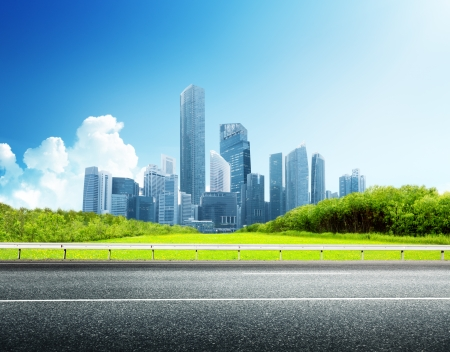 Photo for Asphalt road and modern city  - Royalty Free Image