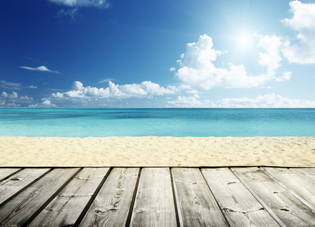 Photo for tropical beach and wooden platform - Royalty Free Image