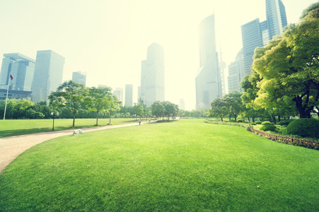 Foto de park in  lujiazui financial centre, Shanghai, China - Imagen libre de derechos