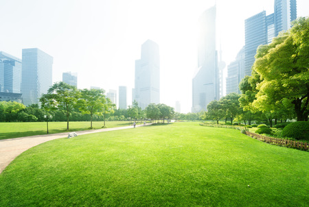 Photo pour park in  lujiazui financial centre, Shanghai, China - image libre de droit