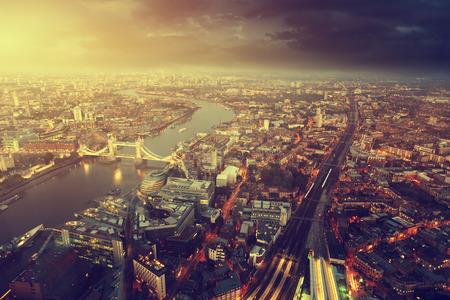 Photo pour London aerial view with  Tower Bridge in sunset time - image libre de droit
