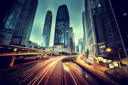 Photo for traffic in Hong Kong at sunset time - Royalty Free Image