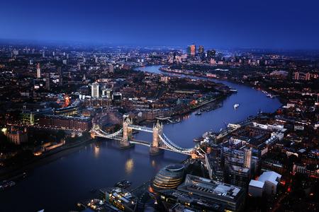 Photo pour London aerial view with Tower Bridge, UK - image libre de droit