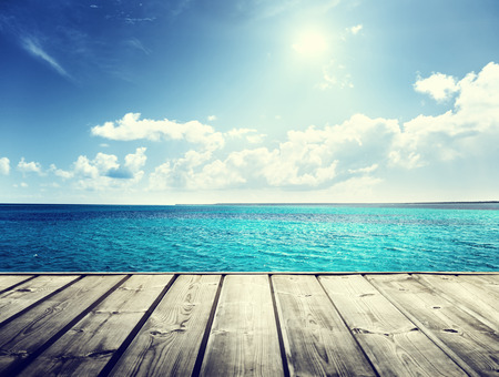 Photo for caribbean sea and wooden platform - Royalty Free Image