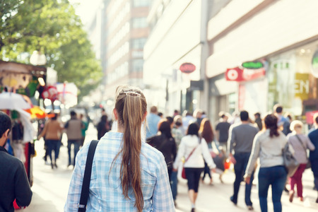 Photo for young woman on street of London - Royalty Free Image