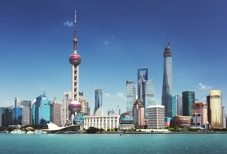 Photo pour Shanghai skyline in sunny day, China - image libre de droit