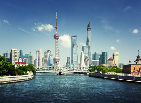 Photo for Shanghai skyline in sunny day, China - Royalty Free Image