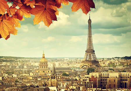 Photo for autumn leaves in Paris and Eiffel tower - Royalty Free Image