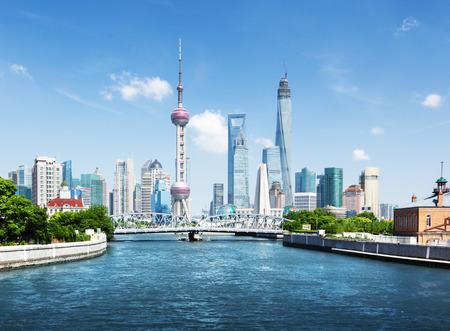 Photo pour Shanghai skyline in sunny day, China - image libre de droit