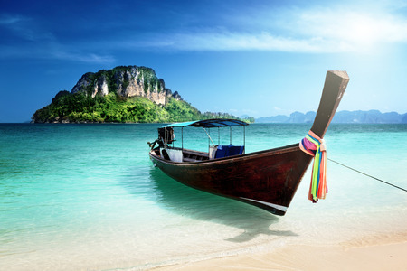 Photo for long boat and poda island, Thailand - Royalty Free Image