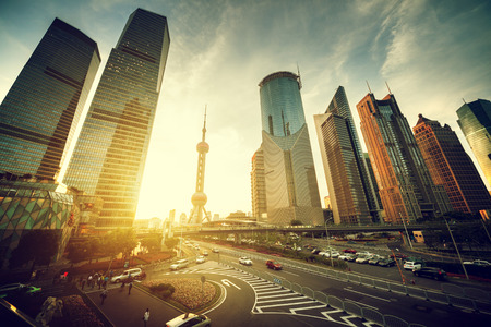 Photo for road in Shanghai lujiazui financial center, China - Royalty Free Image