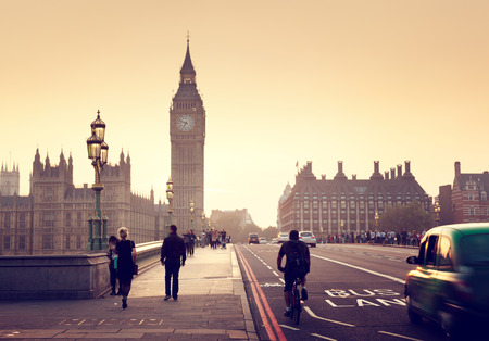 Foto de Westminster Bridge at sunset, London, UK - Imagen libre de derechos
