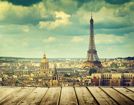Photo for background with wooden deck table and Eiffel tower in Paris - Royalty Free Image