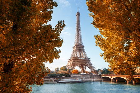 Photo for Seine in Paris with Eiffel tower in autumn time - Royalty Free Image