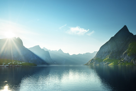 Photo for sunset in Lofoten islands, Norway - Royalty Free Image