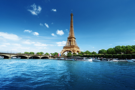 Photo for Seine in Paris with Eiffel tower in morning time - Royalty Free Image