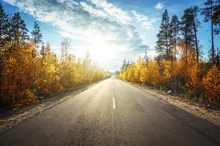 Foto per road in autumn  mountains - Immagine Royalty Free