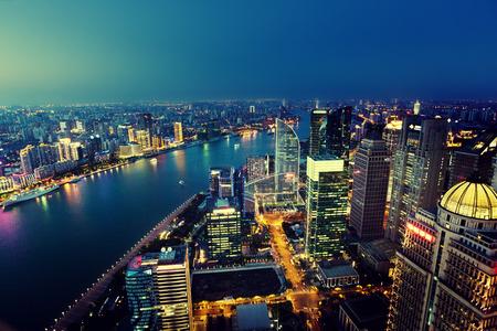 Photo pour Shanghai night view, China - image libre de droit