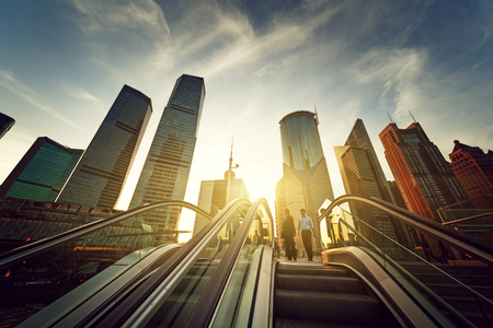 Photo for escalator in Shanghai lujiazui financial center, China - Royalty Free Image