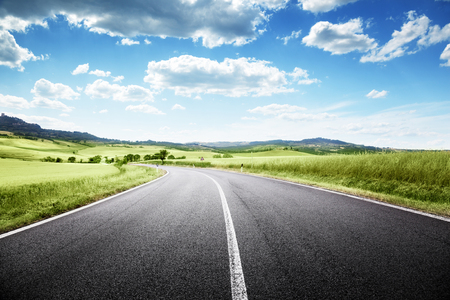 Photo for asphalt road in Tuscany, Italy - Royalty Free Image