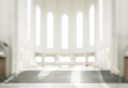 Foto de bokeh interior of modern  lutheran, christian church - Imagen libre de derechos