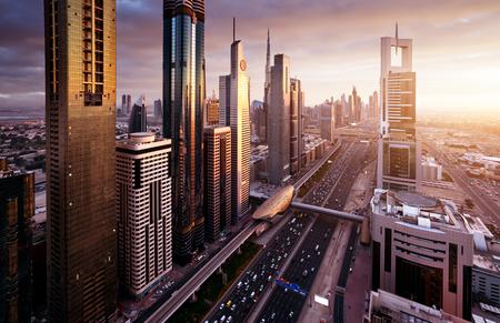 Photo pour Dubai skyline in sunset time, United Arab Emirates - image libre de droit