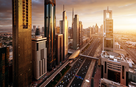 Photo for Dubai skyline in sunset time, United Arab Emirates - Royalty Free Image