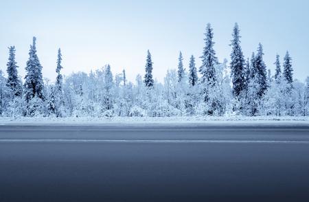 Photo pour road in winter forest - image libre de droit