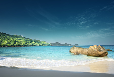 Photo for Sunset on the beach Takamaka, Mahe island, Seychelles - Royalty Free Image
