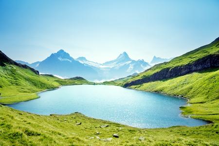 Photo pour Schreckhorn and Wetterhorn from Bachalpsee lake,Bernese Oberland,Switzerland,Europe - image libre de droit