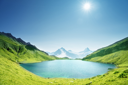 Photo for Schreckhorn and Wetterhorn from Bachalpsee lake,Bernese Oberland,Switzerland,Europe - Royalty Free Image