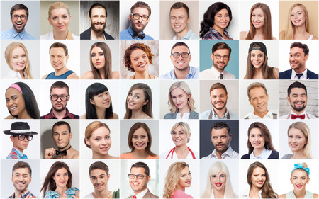 Photo pour Collage of different young men and women with varied professions smiling and looking at camera with happiness - image libre de droit