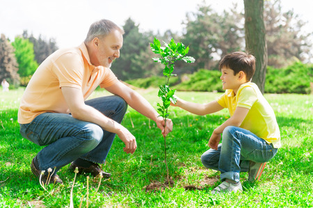 Foto de Cute boy is helping his grandfather to plant a small tree. They are holding a sapling and smiling - Imagen libre de derechos