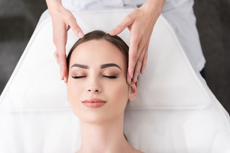 Photo for Relaxing facial massage at spa salon - Royalty Free Image