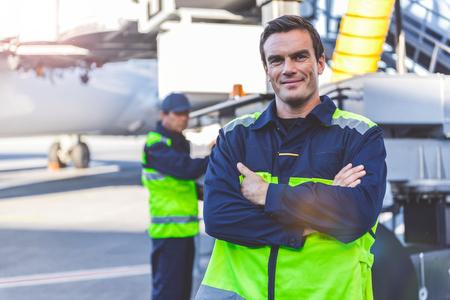 Foto de Outgoing man locating on airdrome - Imagen libre de derechos