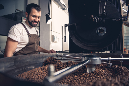 Foto de Low angle portrait of cheerful bearded male controlling roasting seeds locating on cooler professional machine. Factory concept - Imagen libre de derechos