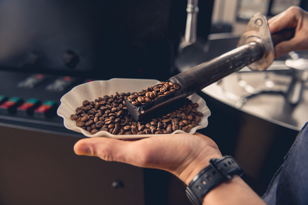 Foto de Close up man hands keeping bowl with beans and controlling their preparation with tool. Occupation concept - Imagen libre de derechos