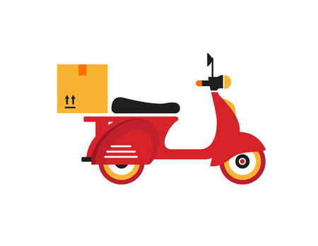 Illustration pour Red retro vintage delivery motor bike icon isolated on white background - image libre de droit