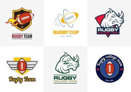Illustration for Set of vintage color rugby championship logos and badges - Royalty Free Image