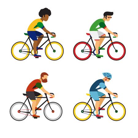 Illustration pour Cycling sport bicycle men icons set - image libre de droit