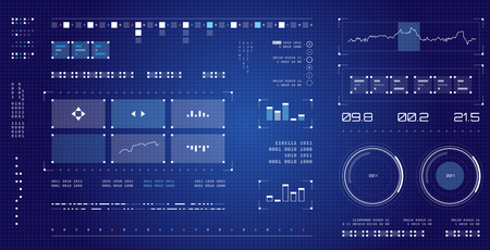 Foto de Futuristic user interface. Spaceship screen elements set. Infographic display. Dark color graphic touch screen. - Imagen libre de derechos