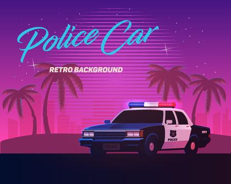 Illustration pour 80s retro neon gradient background. Vintage police car. Palms and city. Tv glitch effect. Sci-fi beach. - image libre de droit
