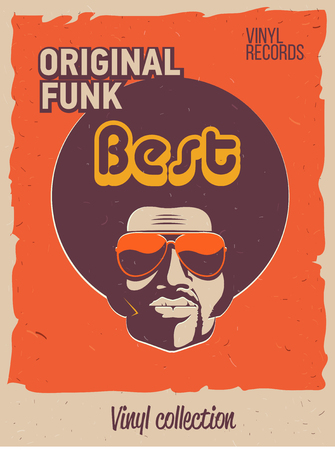 Illustration for Disco party event flyer. Collection of the creative vintage poster. Vector retro style template. Black man in sunglasses. - Royalty Free Image