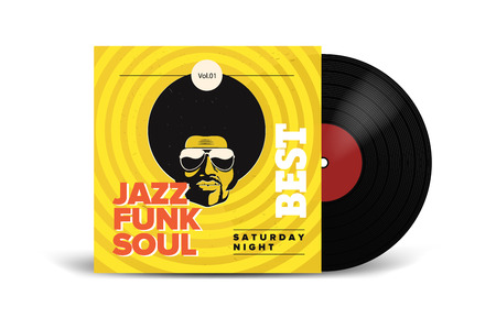 Illustration for Realistic Vinyl Record with Cover Mockup. Disco party. Retro design. Front view. - Royalty Free Image