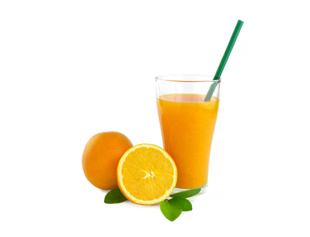 Foto de isolated orange juice on white background with clipping path - Imagen libre de derechos