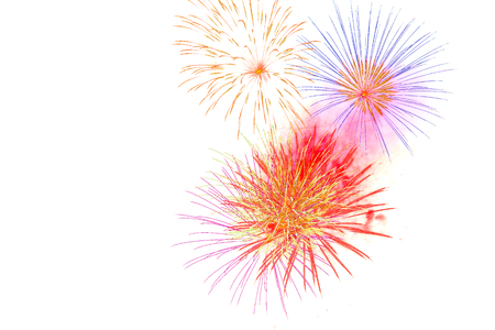 Photo pour firework isolated on white background-  firework celebration  happy time - image libre de droit